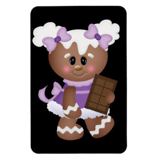 Retro Gingerbread Girl with Chocolate Rectangle Magnet