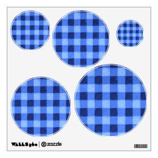 Retro Gingham Blue Wall Sticker