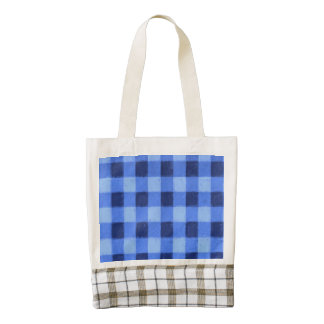 Retro Gingham Blue Zazzle HEART Tote Bag