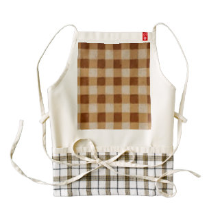 Retro Gingham Brown Zazzle HEART Apron