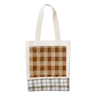 Retro Gingham Brown Zazzle HEART Tote Bag