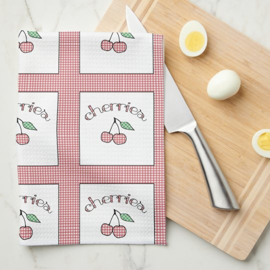 Retro Kitchen Linens: Retro Gingham Cherries Country Kitchen Towel