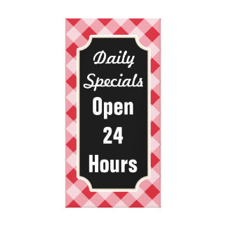 Retro Gingham Daily Specials Diner Sign Canvas