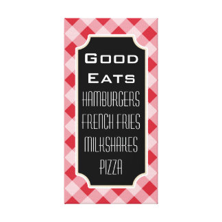 Retro Gingham Good Eats Diner Sign Canvas