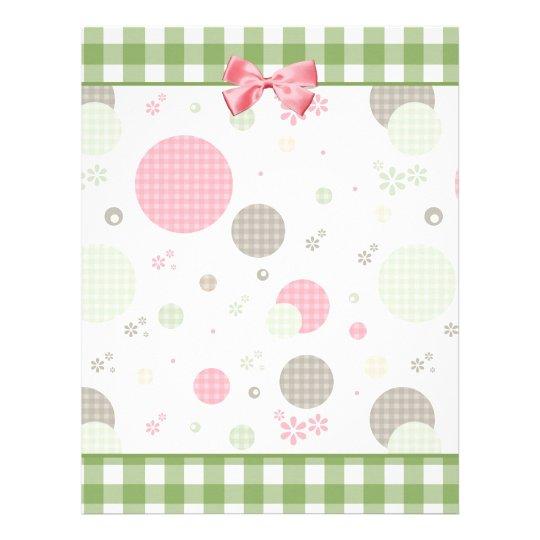 Retro Gingham Polka Dots and Daisies Letterhead