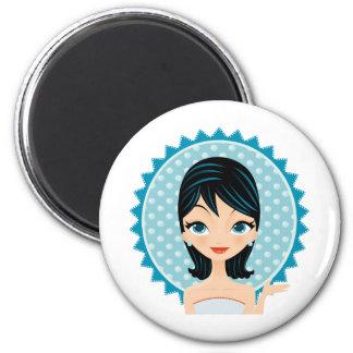 Retro Girl 2 Inch Round Magnet
