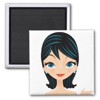 Retro Girl 2 Inch Square Magnet