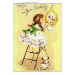 Retro Girl And Kitten Birthday Greeting Card