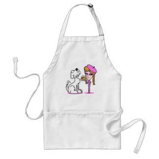 retro girl and pet dog adult apron