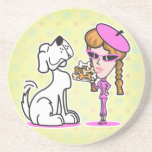 retro girl and pet dog beverage coasters