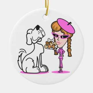 retro girl and pet dog Double-Sided ceramic round christmas ornament