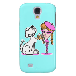 retro girl and pet dog samsung s4 case