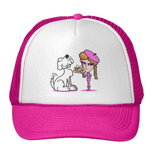 retro girl and pet dog trucker hat