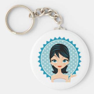 Retro Girl Basic Round Button Keychain