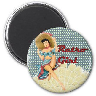 Retro Girl Beach Magnet