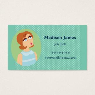 Retro Girl Blue Business Card