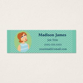 Retro Girl Blue Mini Business Card