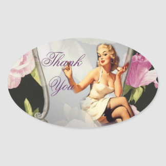 retro  girl Bridal Shower Tea Party thank you Oval Sticker
