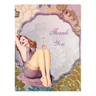retro girl Bridal Shower Tea Party thank you Postcard