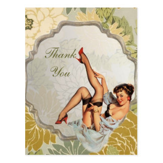 retro girl Bridal Shower Tea Party thank you Postcard