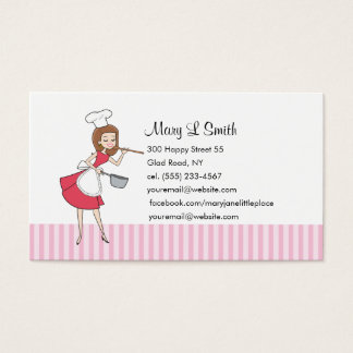 Retro Girl Chef Personal Calling Card - Customized