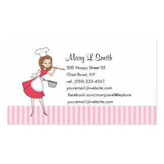 Retro Girl Chef Personal Calling Card - Customized Double-Sided Standard Business Cards (Pack Of 100)