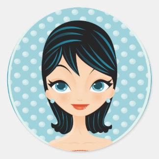 Retro Girl Classic Round Sticker