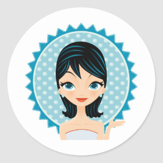 Retro Girl Classic Round Sticker