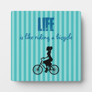 Retro Girl Cyclist - Life Is Like Riding A Bicycle Plaque