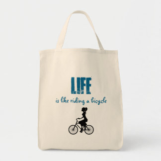 Retro Girl Cyclist - Life Is Like Riding A Bicycle Tote Bag