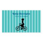 Retro Girl Cyclist Silhouette Business Card