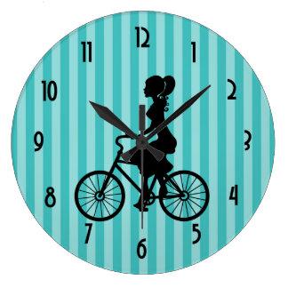 Retro Girl Cyclist Silhouette Large Clock