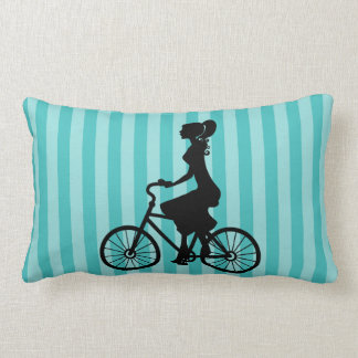 Retro Girl Cyclist Silhouette Lumbar Pillow