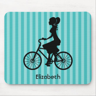 Retro Girl Cyclist Silhouette Mouse Pad