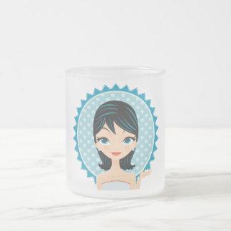Retro Girl Frosted Glass Coffee Mug