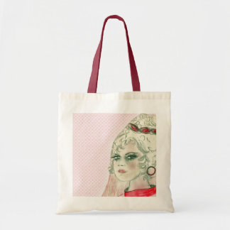 Retro Girl in Red Budget Tote Bag
