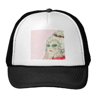 Retro Girl In Red Trucker Hat