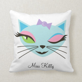 Retro Girl Kitty Sexy Cat Monogram Throw Pillow