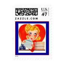 Retro Girl Missing You Postage Stamps Stacks