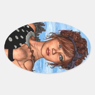 Retro Girl Oval Sticker