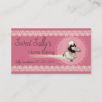 Retro girl pastry chef cake bakery business card
