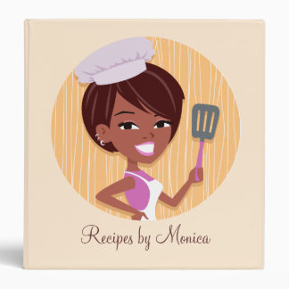 Retro Girl Recipe Binder with Large Illustration