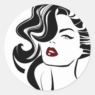 Retro girl red lips classic round sticker