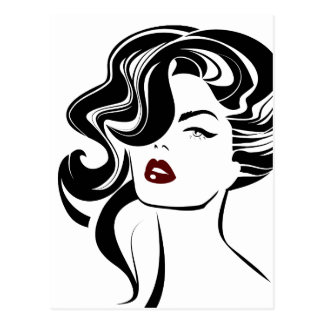 Retro girl red lips postcard