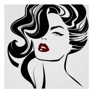 Retro girl red lips poster