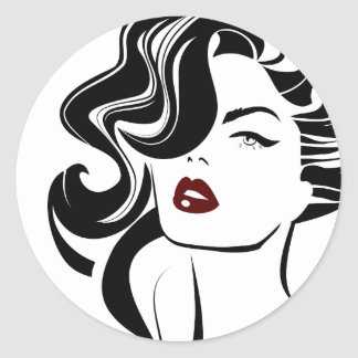 Retro girl red lips round sticker