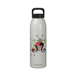 Retro Girl Red with Stars Reusable Water Bottle