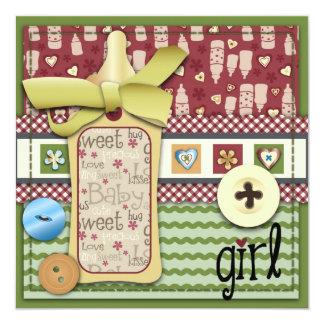 Retro Girl Square Card