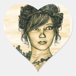 Retro Girl Heart Sticker