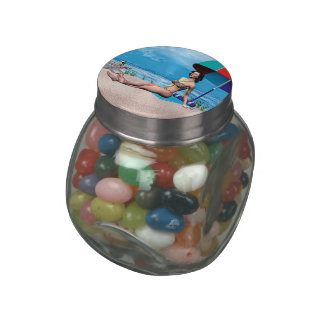 Retro Girl under the Sun Jelly Belly Candy Jars